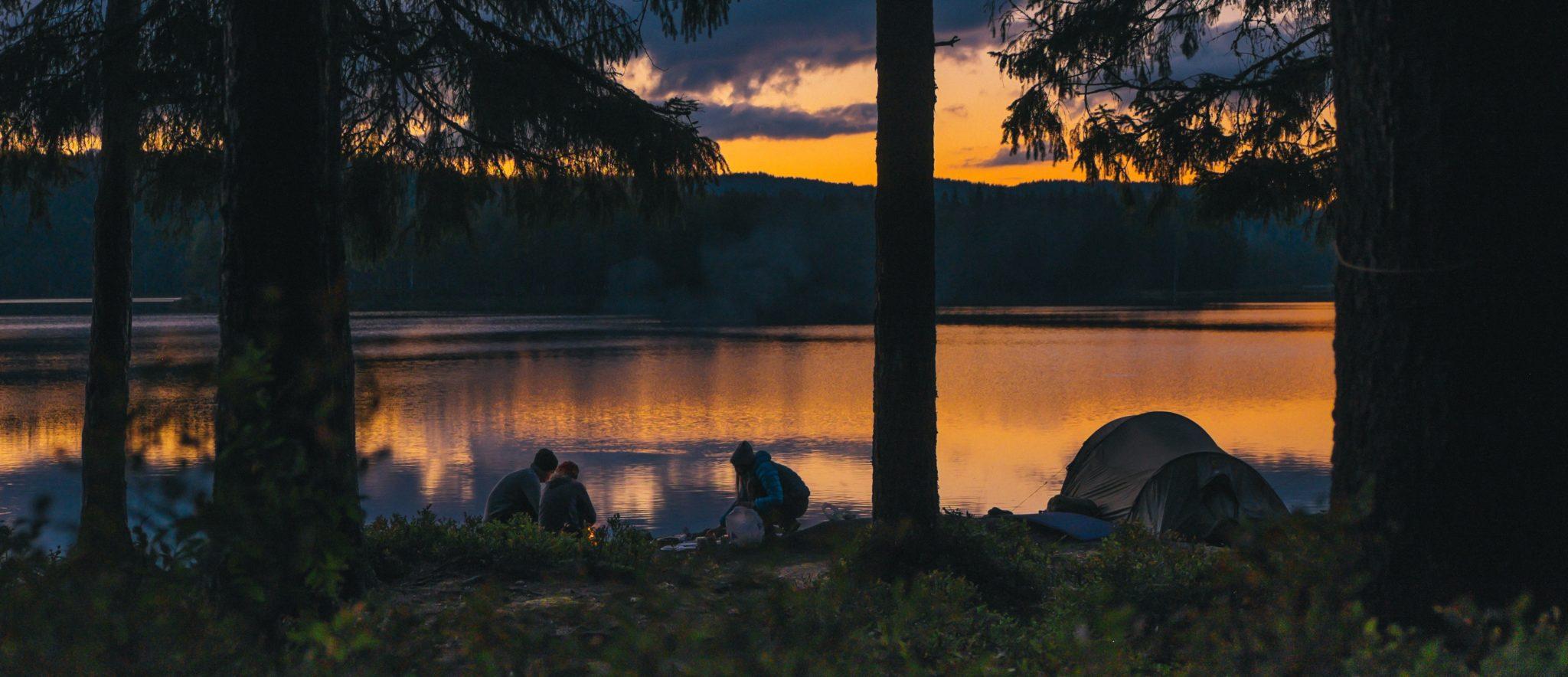 Panorma. Unga vuxna vid en sjö.