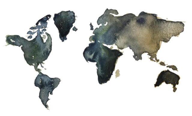 Världskarta mot vitbakgrund