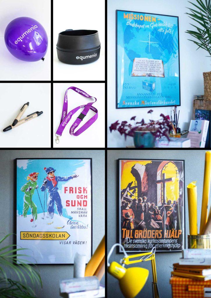 Ballong, kåsa, nykcelband, affischer