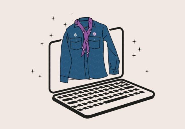 Scoutskjorta och laptop