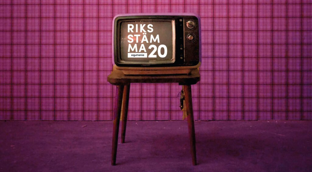 Retro-tv som visar text Riksstämma 20