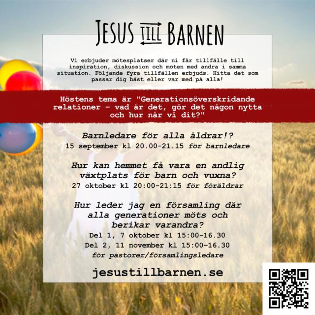 """Höstens digitala mötesplatser """"Jesus till barnen"""""""